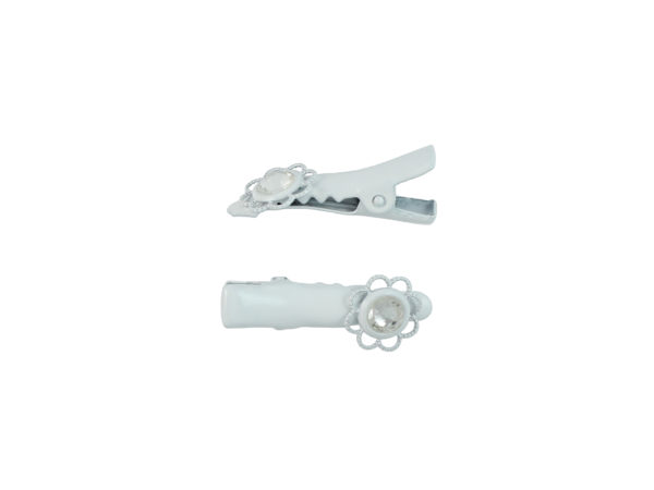 Image of White Lace Crystal Pinch Clip