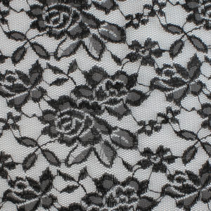 Image of Black Rose with Leaves fabric
