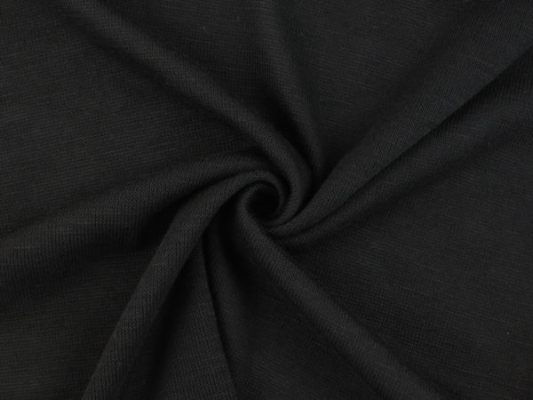 Image of Black Slub Knit fabric