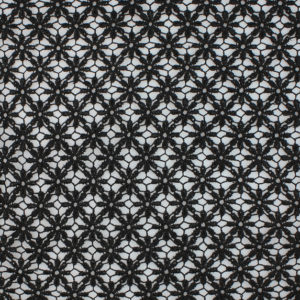 Image of Black Daisy Venice Lace fabric