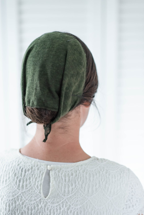 """Image of 8"""" Round Tie Veil, Hacci Knit fabric, Olive"""