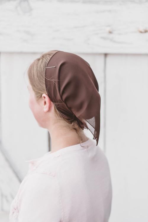 Image of Square Tie Veil, Brown Chiffon